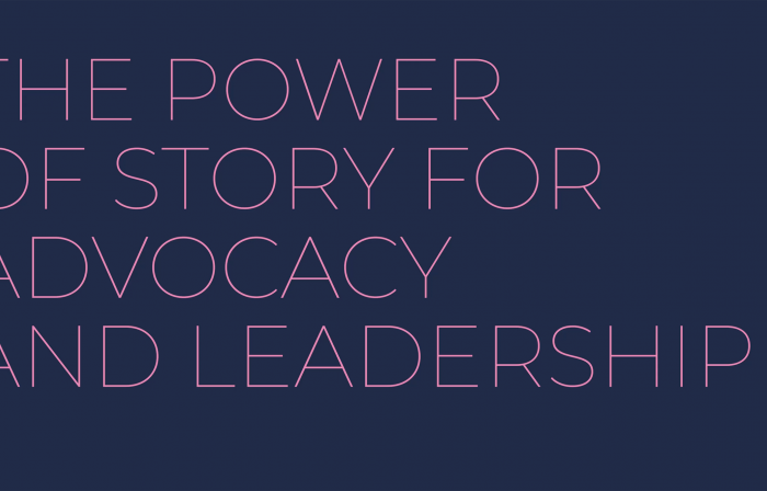 The photo shows the title of the training session, The Power of Storytelling for Advocacy and Leadership