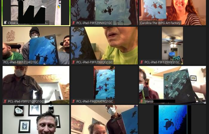 this image shows people on a Zoom call showing off their artwork